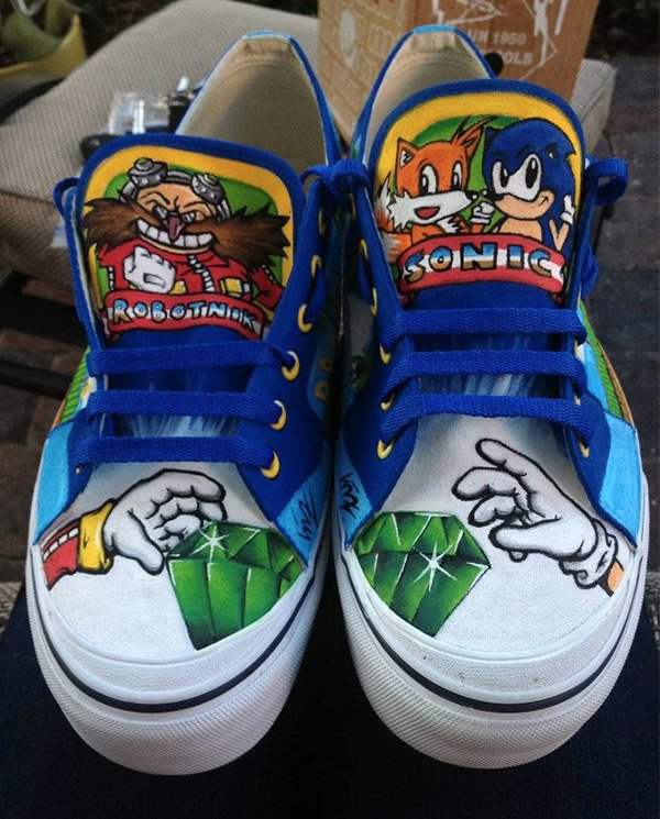 8e9766bada175a Custom Painted Sonic the Hedgehog Sneakers for Sidewalk Spin-Dashes