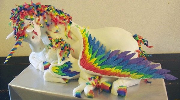 flying rainbow unicorn cake