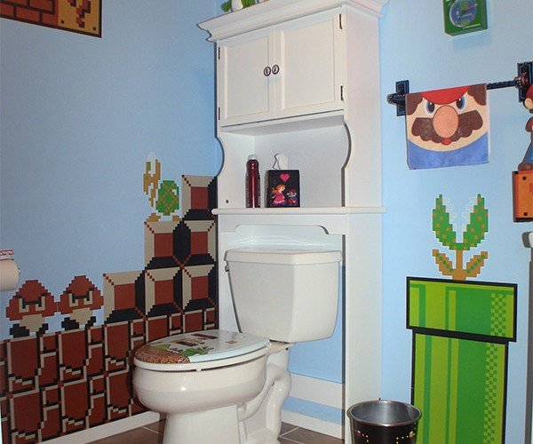 Gamer Bathroom is Flush with Pixel Art