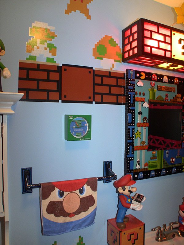 Gamer bathroom is flush with pixel art technabob Design your own bathroom games