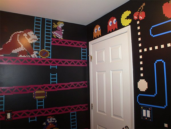 Gamer bathroom is flush with pixel art Design your own bathroom games