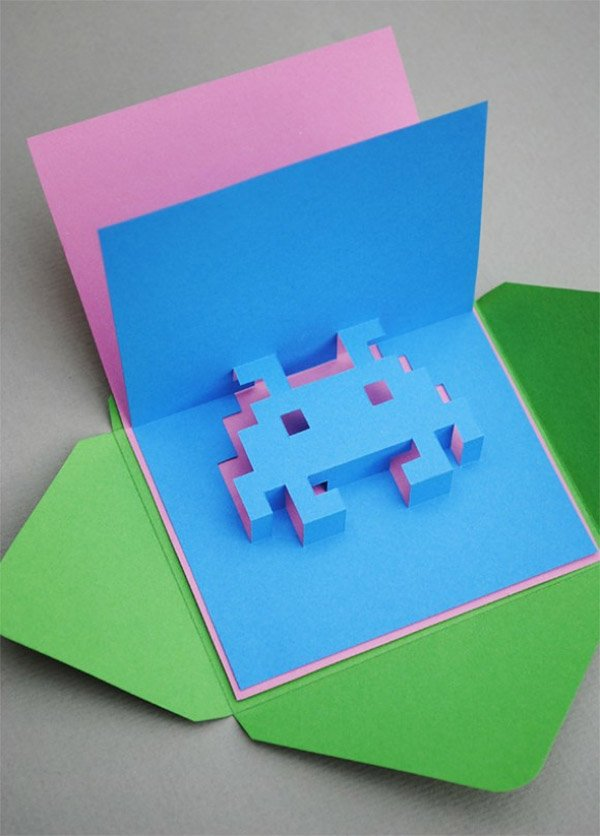 8 bit pop up cards