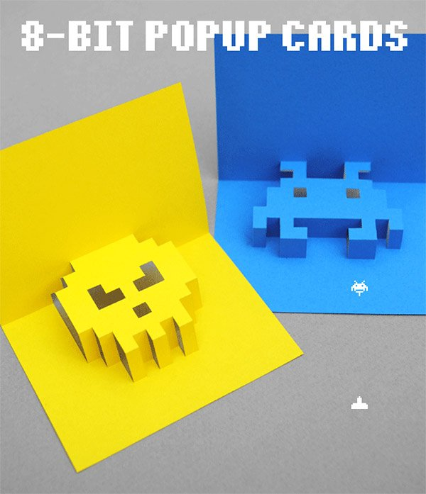8 bit pop up cards 1