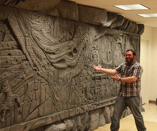 Bethesda's Office Gets Life-Size Alduin's Wall from Skyrim