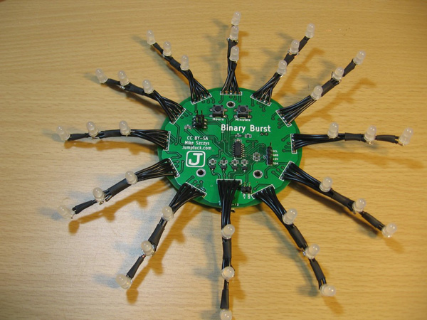 binary burst clock led mike szczys jumptuck make