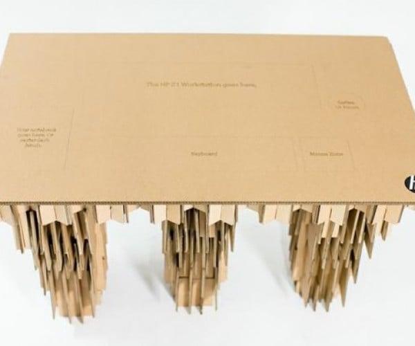 Cardboard Computer Desk Is Definitely Not Water- or Fireproof
