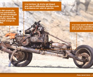 Mad Max Motorcycle Built from Car that Broke Down in the Desert