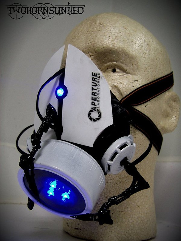 portal gun gas mask by twohornsunited