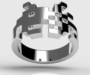 Sterling Silver Space Invader Ring Puts Pixels on Your Digits
