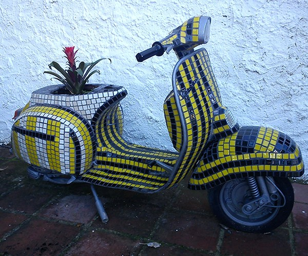 Tiled Vespa Flower Pot Gives Plants a Ride to Nowhere