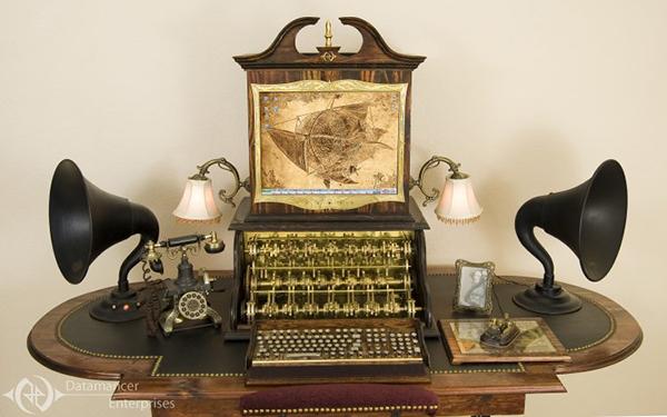 clacker steampunk desktop computer by datamancer