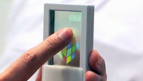 fujitsu transparent smartphone japan in use
