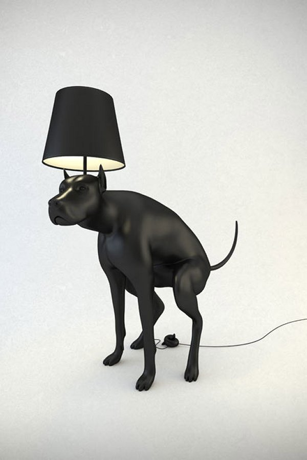 pooping dog lamp