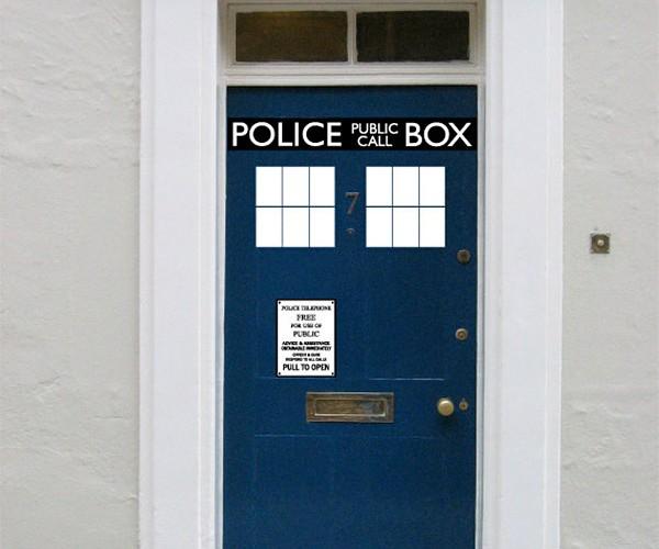 TARDIS Vinyl Door Decals: It's Messier on the Inside
