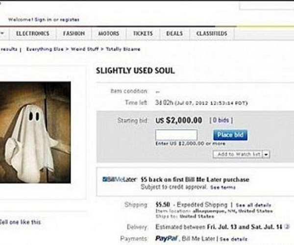 Woman Puts Soul up for Auction, eBay Pulls Plug