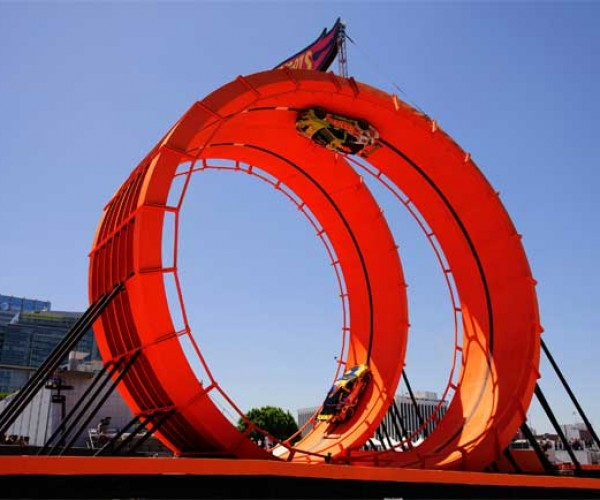 Stunt Drivers Spin through Real Life Hot Wheels Double Loop