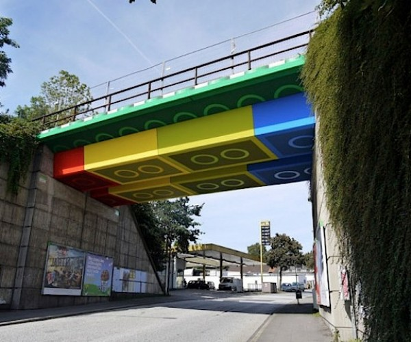 Guy Builds Bridge out of LEGO (Sorta)