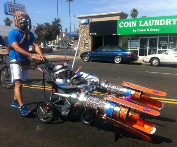 Tusken Raider Pushes a Pod Racer Stroller – Why Not?