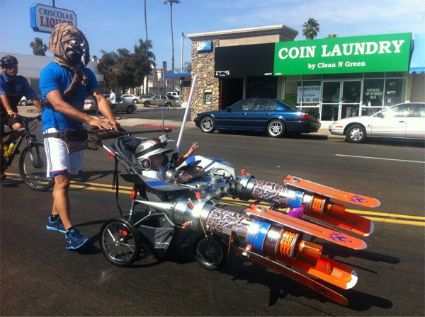 Tusken Raider Pushes A Pod Racer Stroller Why Not