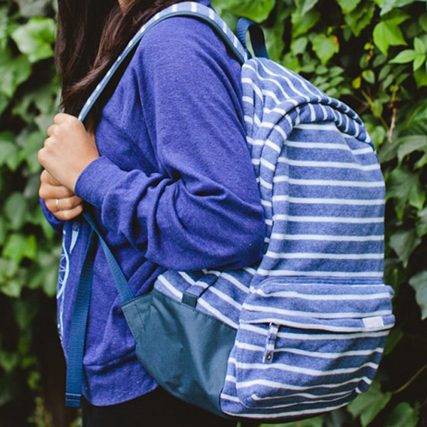 poketo striped backpack cobalt