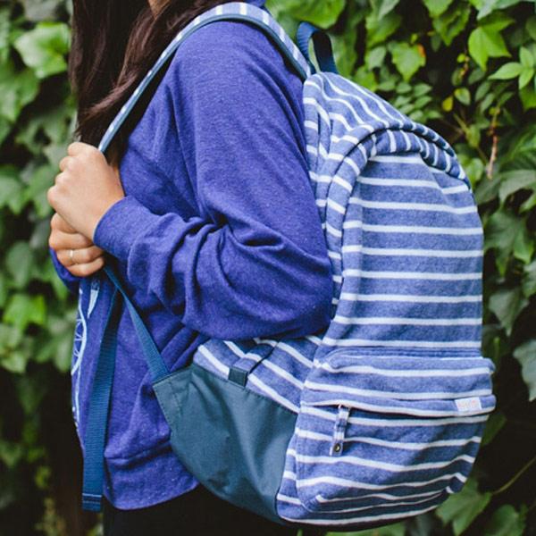 poketo striped backpack cobalt