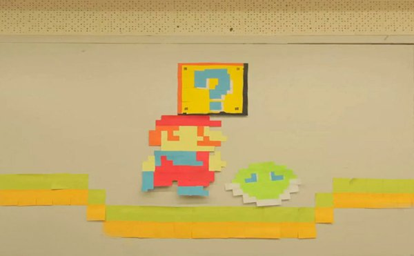 post it life super mario sticky notes animation