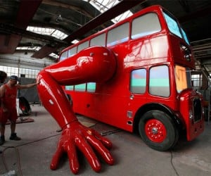 Big Red Double Decker Bus Does Push-ups, Must Be Psyched for the Olympics