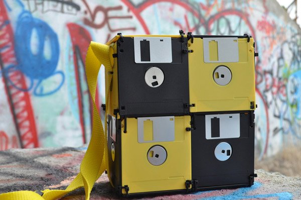 roxanne gibson geekki boutikki floppy disk bag yellow black