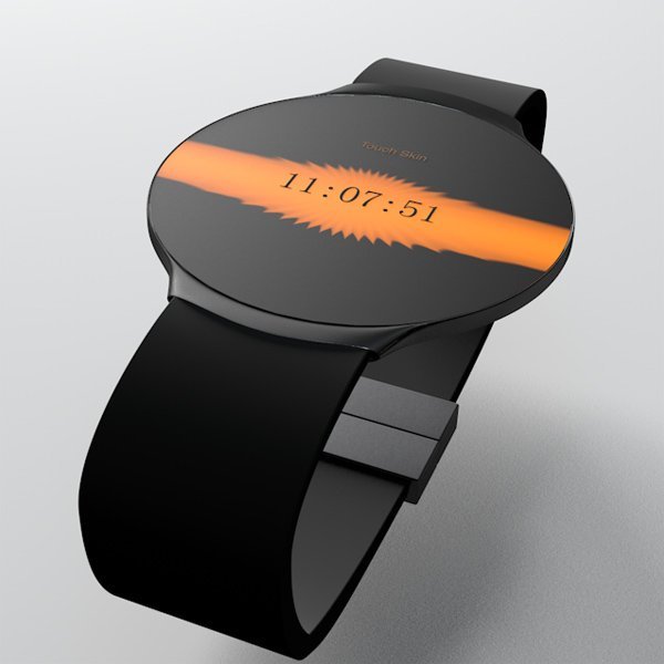 touch skin watch oled concept skin Touch Skin OLED Watch Concept Changes Faces on Demand