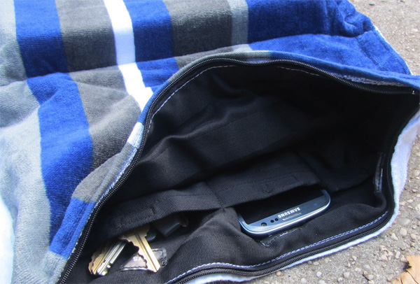 towelmate zippered hidden valuables pocket