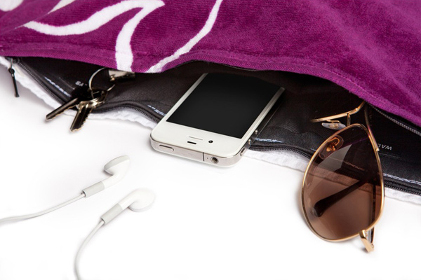 towelmate zippered hidden valuables pocket