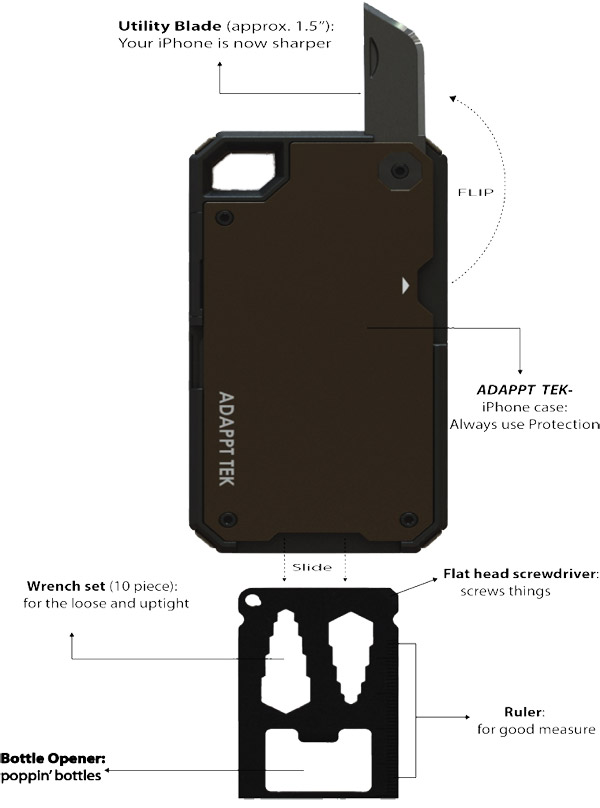 adappt xt multi tool iphone case survivor military utility