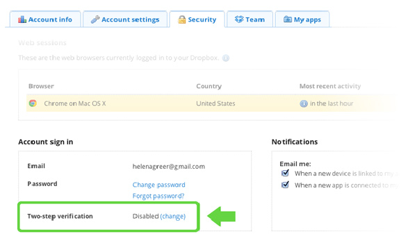 dropbox 2-step verification security sms text message mobile