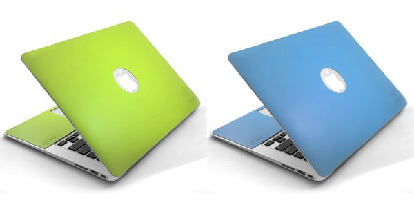 onanoff macbook air leather skin blue green