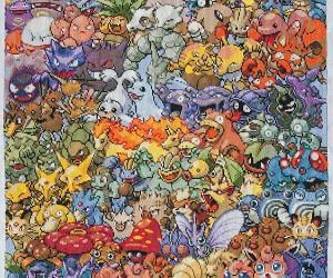 Pokémon Generation 1 Cross-Stitched: Textile Pokédex