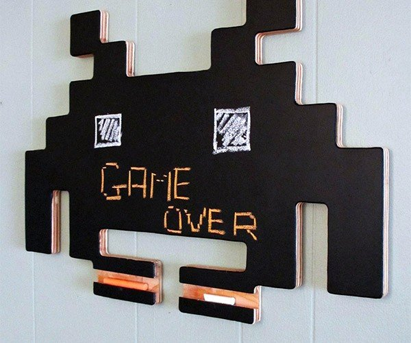 Space Invaders Chalkboard Drops Down, Reverses Direction and Increases Speed on Your Wall