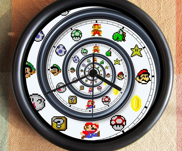 Super Mario Spiral Clock: Down the 16-Bit Hole
