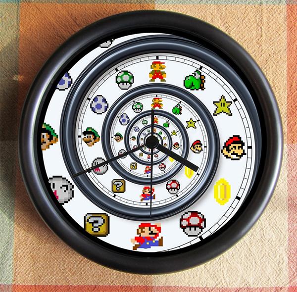 super mario brothers spiral dali clock