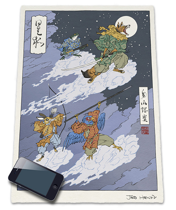 ukiyo e heroes woodblock prints by jed henry and dave bull