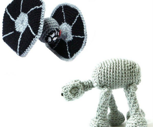 Amigurumi TIE Fighter and AT-AT Crush the Rebel Alliance with Cuteness