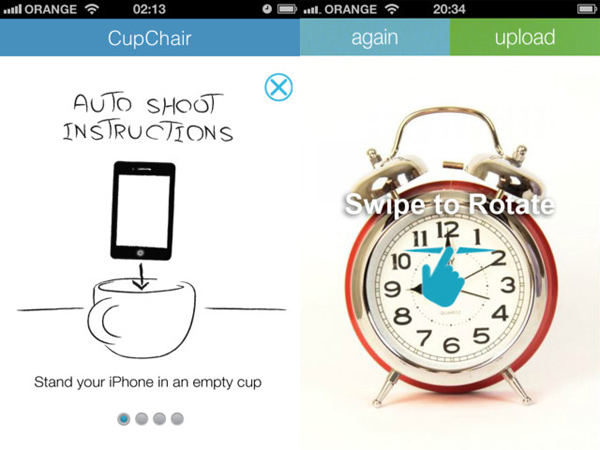 cupchair rotaryview 360 product app screen