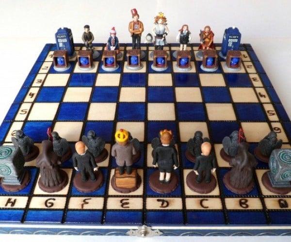 Handmade Doctor Who Chess Set: Weeping Angel Jumps TARDIS