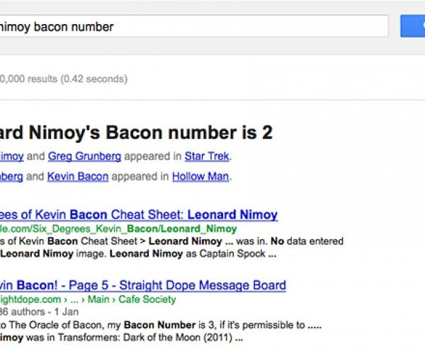 Google Plays Six Degrees of Kevin Bacon, Solves Everything. Showoff.