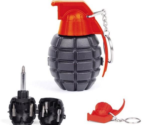 Grenade Screwdriver Conceals Phillips and Flat Bits, Not Explosives Inside