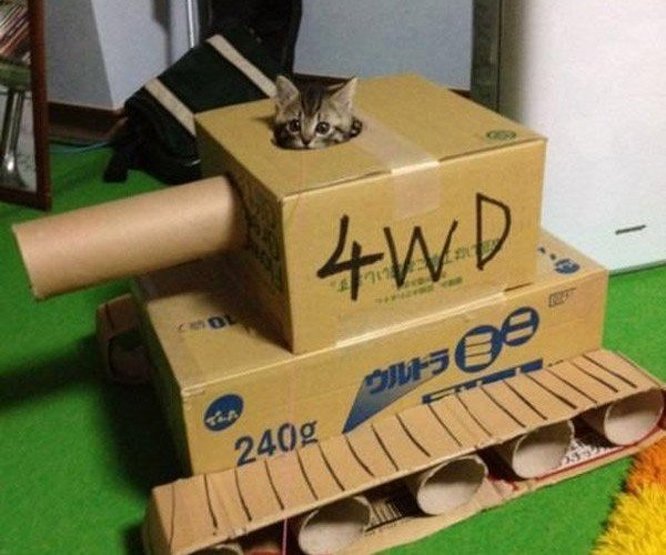 Cardboard Kitten Tank: Let the Hairballs Fly!