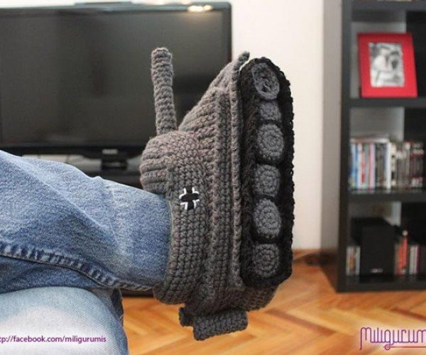 Panzer Tank Knit Slippers Battle Cold Toes