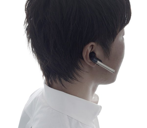 nendo logitec stylo bluetooth headset wearing