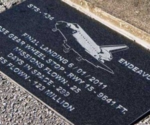 Plaques Placed on Space Shuttle Runway Give Details of Shuttle History