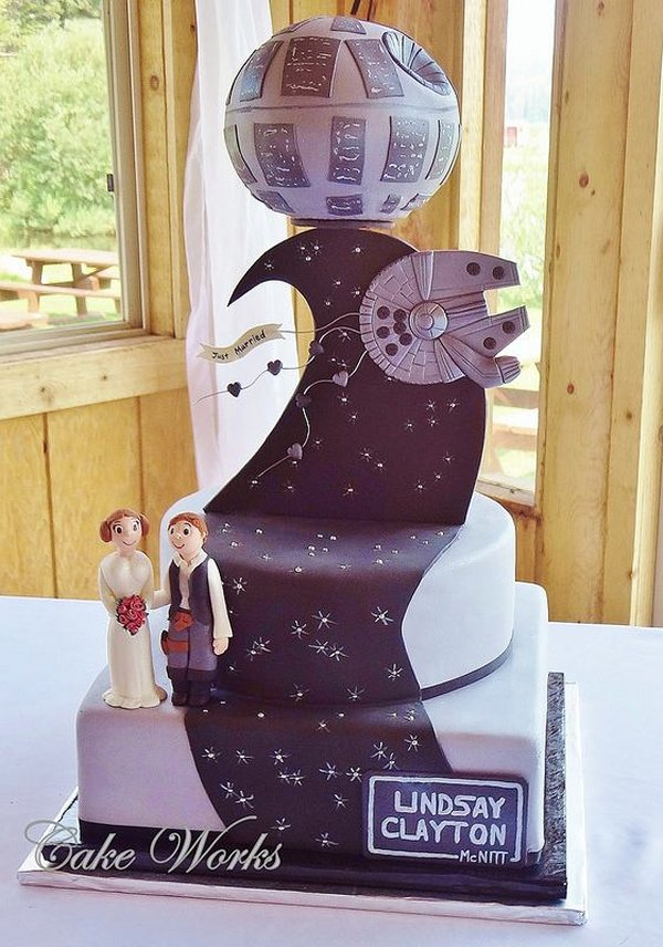 Star Wars Wedding Cake.The Force Is Strong In This Star Wars Wedding Cake