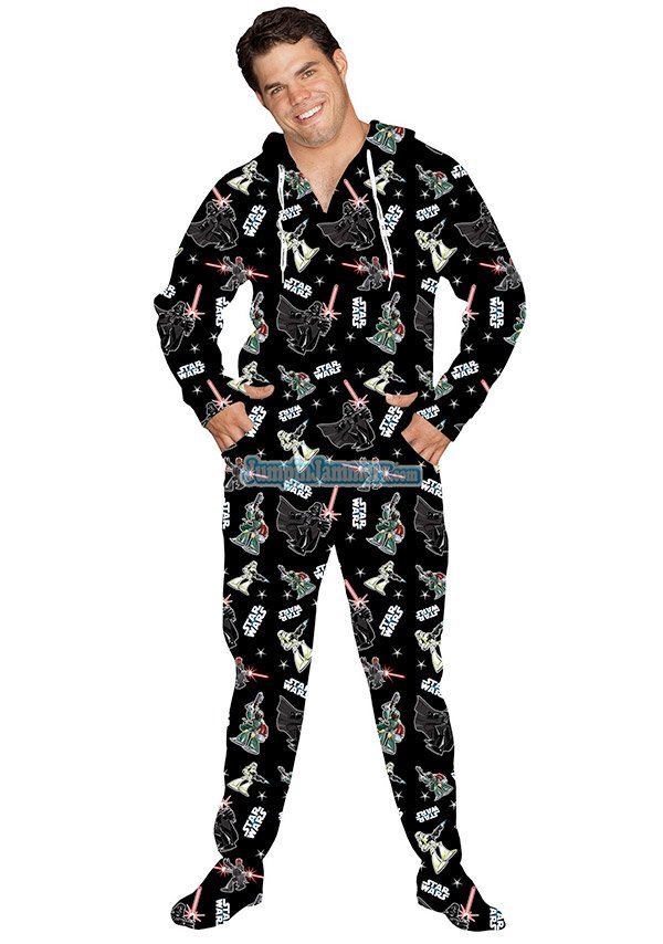 Star Wars Boba Fett Adult onesie Costume Pajamas $ Ex Tax: $ These Star Wars Boba Fett Footed Costume Pajamas will make you feel like you're out in space.